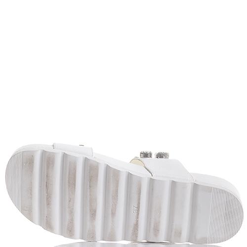 Белые сланцы Albano на толстой подошве со стразами, фото