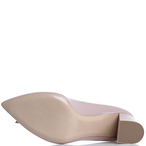 Бежевые туфли-лодочки Dyva на толстом каблуке, фото