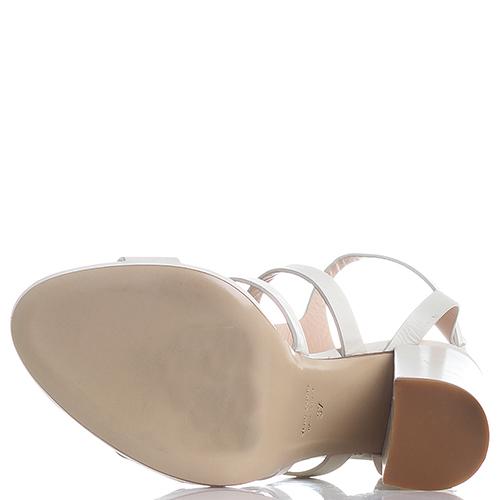 Босоножки Giampaolo Viozzi молочного цвета на толстом каблуке, фото