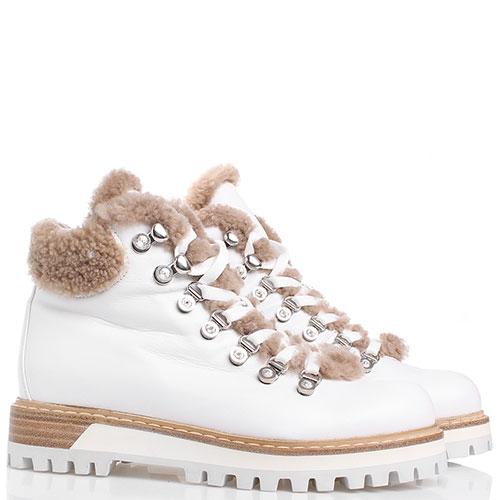 Белые ботинки Le Silla с декором-стразами, фото