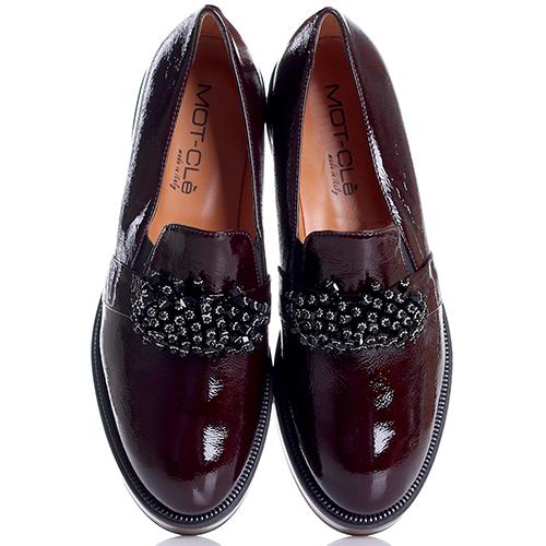 Бордовые туфли Mot-Cle с декором-бесером, фото