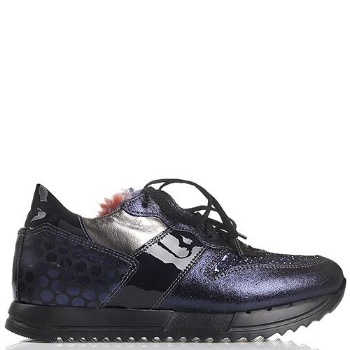 Кроссовки NoClaim синего цвета из кожи с разной обработкой, фото
