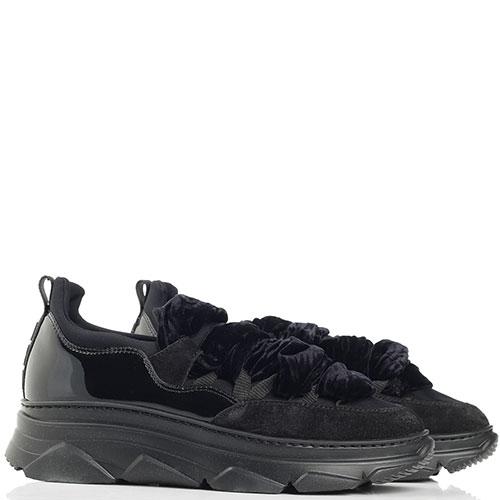 Черные кроссовки Alberto Gozzi с синими текстильными шнурками, фото