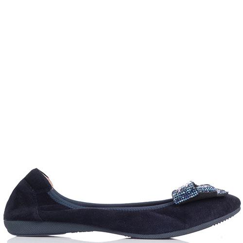 Темно-синие балетки Gianni Renzi Miss Ballerina со стразами, фото