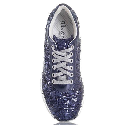 Кроссовки Nila&Nila декорированные пайетками синего цвета, фото