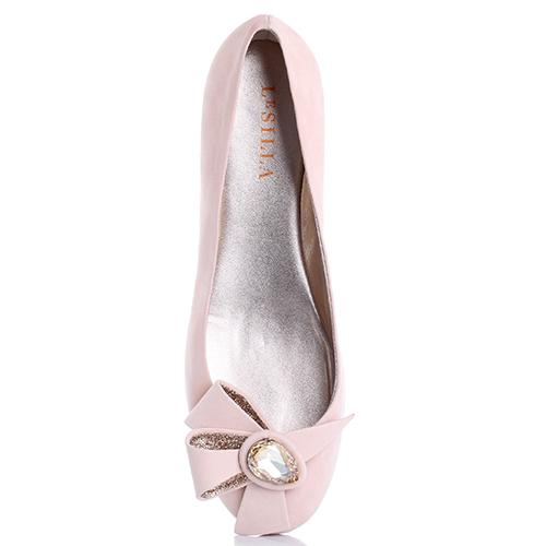 Розовые балетки Le Silla со скрытой танкеткой и декором-бантом, фото