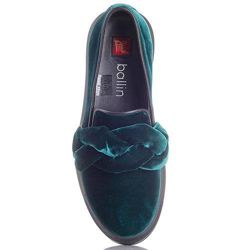 Туфли Ballin из велюра зеленого цвета с декором в виде косы, фото