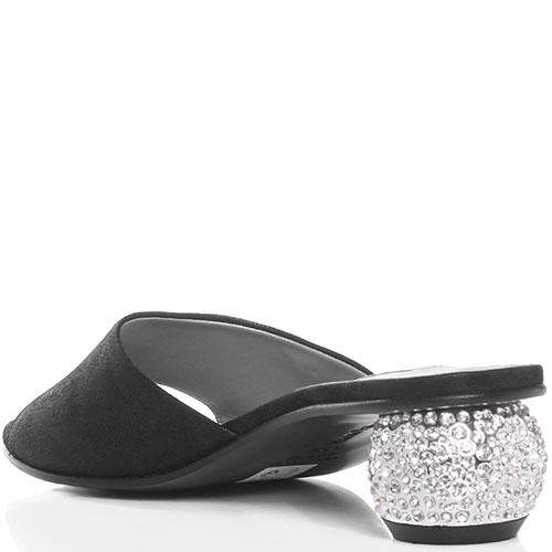 Мюли Marino Fabiani черного цвета со стразами на каблуке, фото