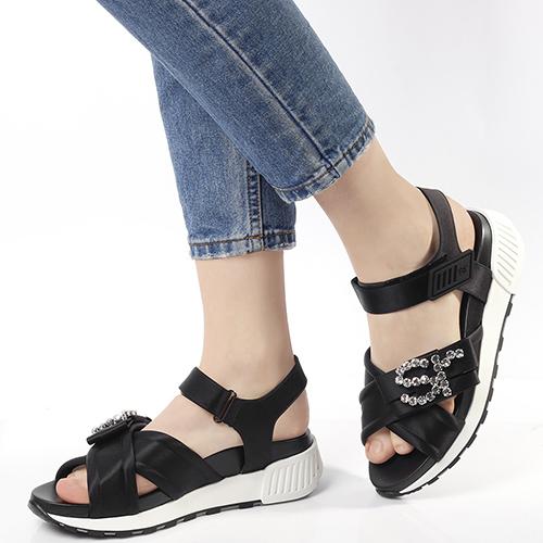 Атласные сандалии Sergio Rossi в черном цвете, фото