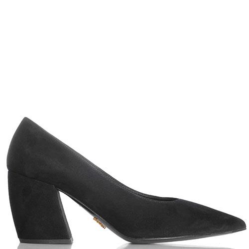Вечерние черные туфли Prada из натуральной замши, фото