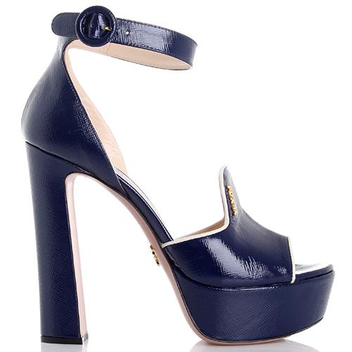 Синие босоножки Prada на платформе и высоком каблуке, фото