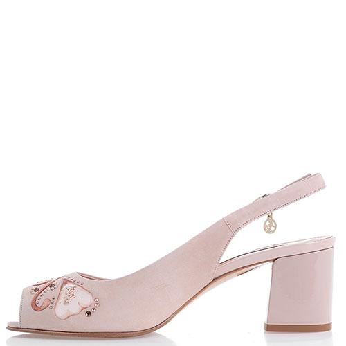 Туфли-слингбэки Marino Fabiani из замши светло-розового цвета, фото