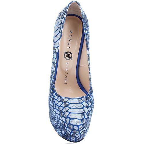 Кожаные туфли Modus Vivendi синего цвета на каблуке и скрытой платформе, фото