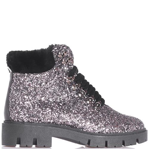 Ботинки Helena Soretti с глиттером серебристого цвета, фото