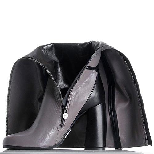 Кожаные сапоги с закругленным носочком Hestia Venezia серые с черным, фото