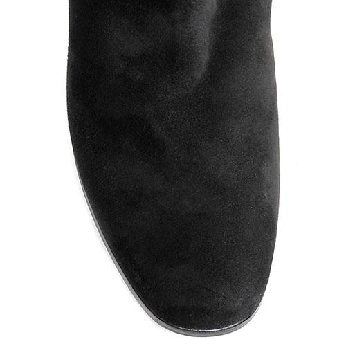 Замшевые черные сапоги Hestia Veneziaна низком каблуке, фото