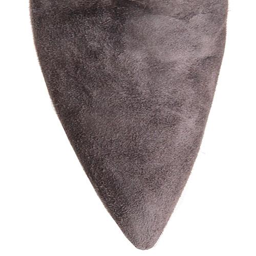 Замшевые сапоги серого цвета Hestia Venezia с вышивкой в виде жуков, фото