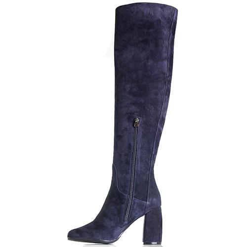 Замшевые ботфорты на толстом каблуке Hestia Venezia синего цвета, фото