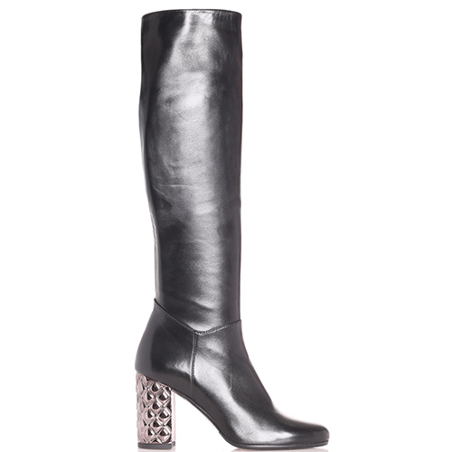 Черные сапоги Hestia Venezia с каблуком серебристого цвета, фото