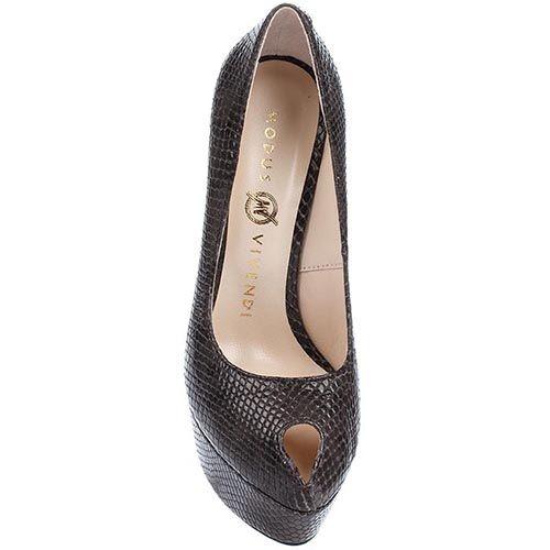 Туфли Modus Vivendi коричневого цвета на высоком каблуке с имитацией кожи питона, фото