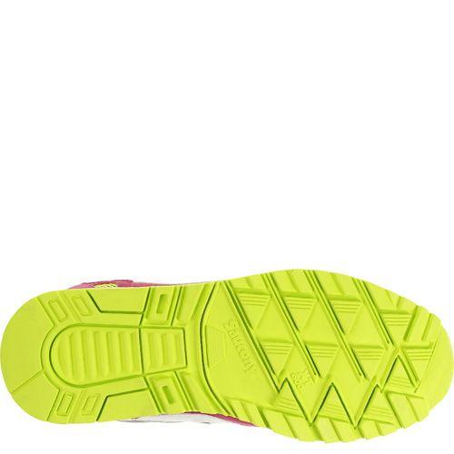 Женские кроссовки Saucony Shadow 5000 серые с ярким малиновым и неоновым желто-салатовым, фото