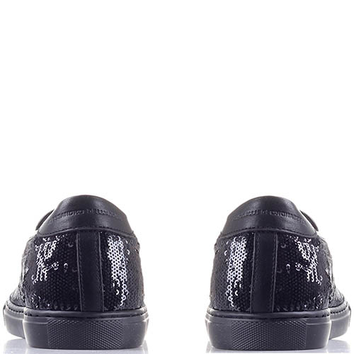 Кожаные слипоны Alessandro Dell'acqua с черными пайетками, фото