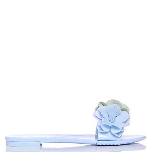 Голубые шлепанцы Menghi с тремя цветками, фото