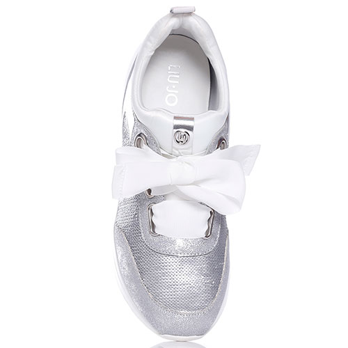 Серебристые кроссовки Liu Jo с декором-паетками, фото