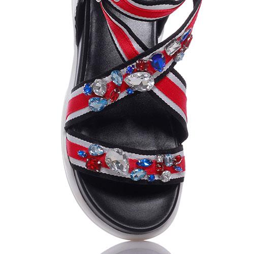 Черные сандалии Liu Jo с крупными стразами, фото