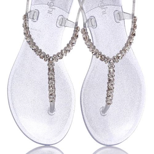Серебристые сандалии Menghi с декором-камнями, фото