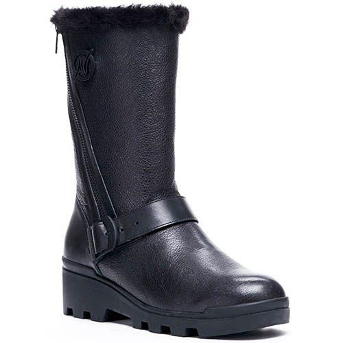 Зимние кожаные сапоги на меху Modus Vivendi черного цвета, фото