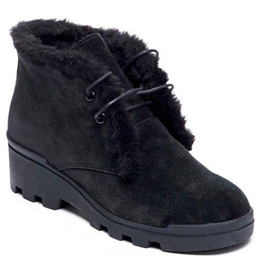Замшевые ботинки на меху Modus Vivendi черного цвета, фото