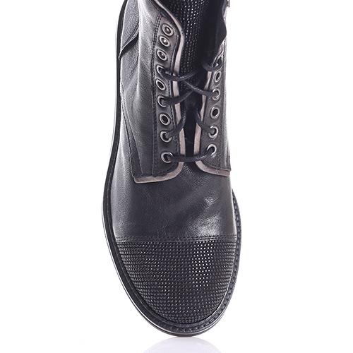 Черные ботинки Mally с декором-стразами на носочке, фото