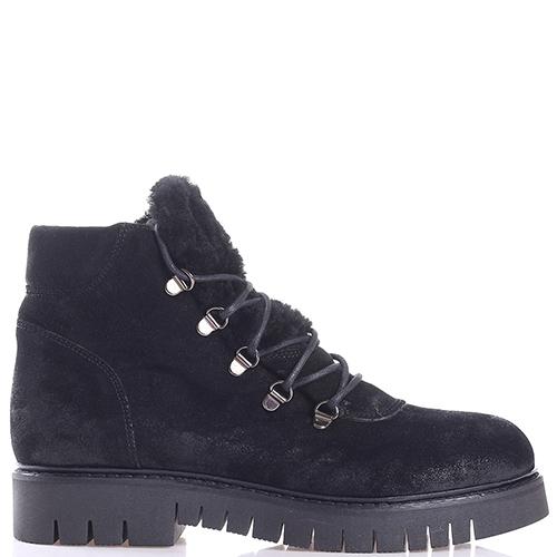 Замшевые ботинки Mally черного цвета на меху, фото