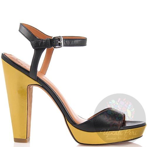 Черно-золотые босоножки Marc by Marc Jacobs на высоком каблуке, фото