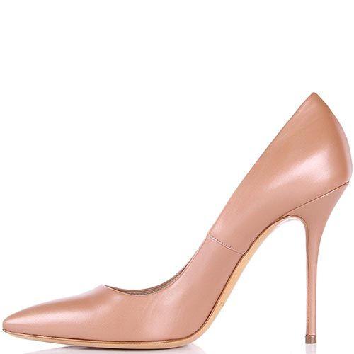 Туфли-лодочки Casadei бежевого цвета с перламутровым блеском, фото