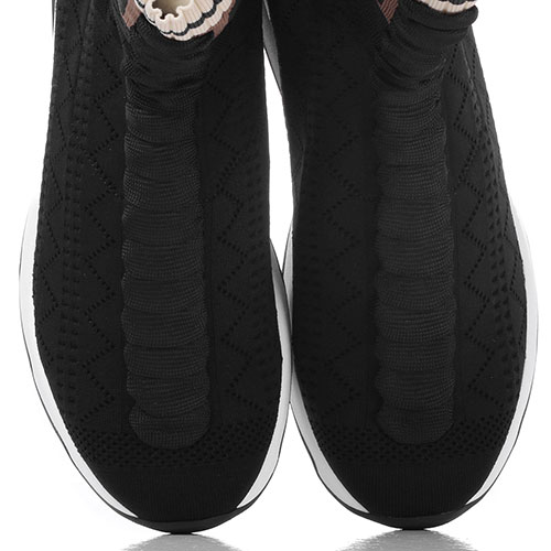 Высокие текстильные кроссовки Fendi черного цвета, фото