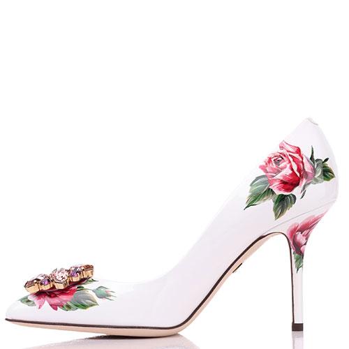 Белые лодочки с цветочным принтом Dolce&Gabbana с декором-камнями, фото