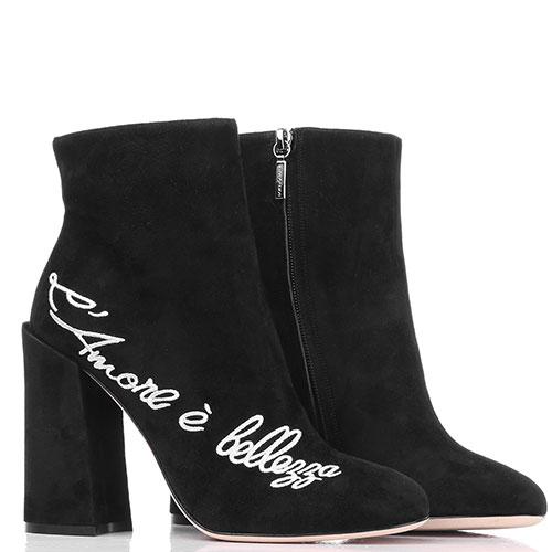 Черные замшевые ботильоны Dolce&Gabbana с вышивкой, фото