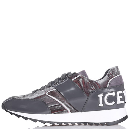 Серые кроссовки Iceberg из полированной кожи и бархата, фото