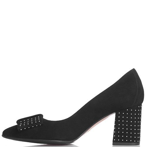 Туфли-лодочки Fabio Di Luna из черной замши с декором-заклепками, фото