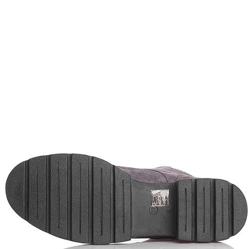Замшевые ботинки Tine's на толстой подошве с черной бархатной шнуровкой, фото