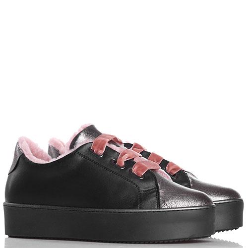 Утепленные кеды Tine's черного цвета с бархатной шнуровкой, фото