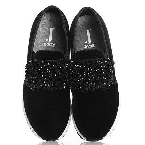Черные бархатные слипоны Jeannot с декором из бисера, фото