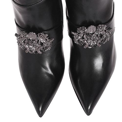 Черные ботфорты H'Estia di Venezia с металлическим декором, фото