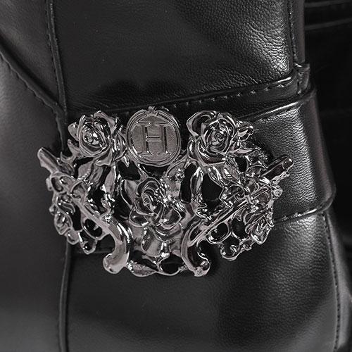 Ботфорты H'Estia di Venezia из гладкой черной кожи с металлическим декором, фото