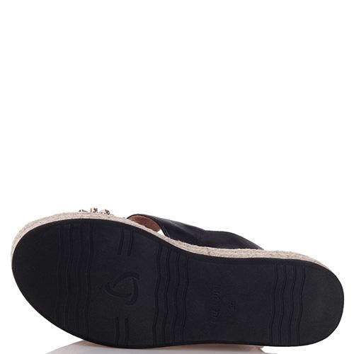 Черные сандалии Kanna с декором-камнями, фото