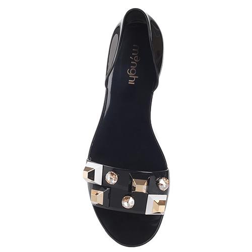 Черные сандалии Menghi с декором-камнями, фото