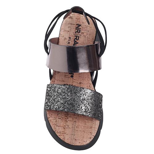 Серебристые сандалии Nr Rapisardi на толстой подошве, фото