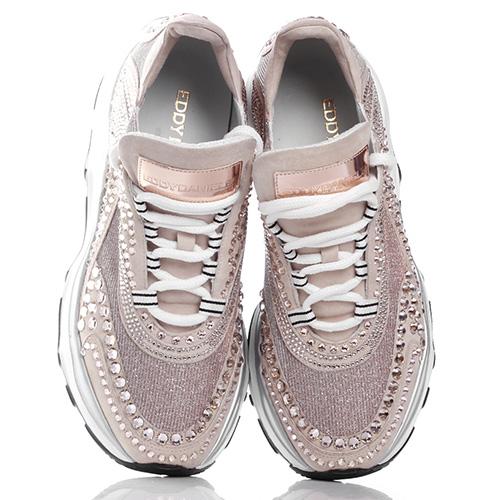 Пудровые кроссовки Eddy Daniele с кристаллами Сваровски, фото